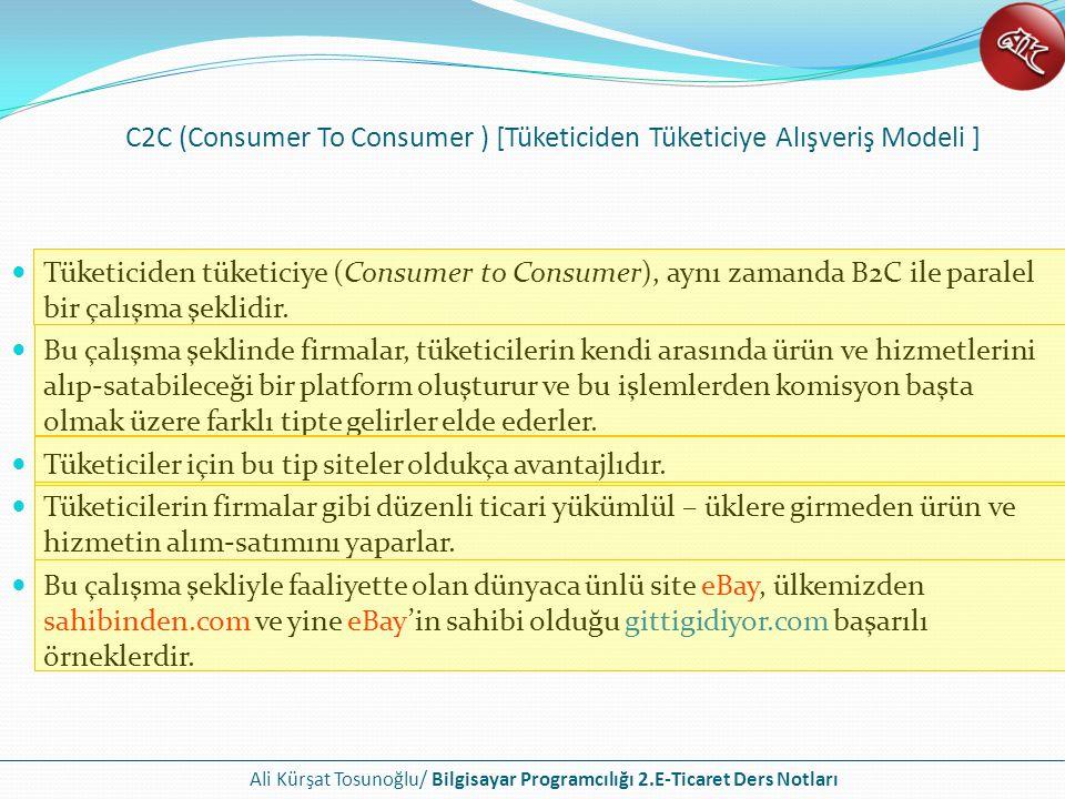C2C (Consumer To Consumer ) [Tüketiciden Tüketiciye Alışveriş Modeli ]